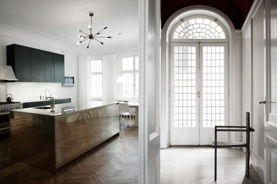 1b-chic-industrial-kitchen-island-parquet-flooring-arch-window-glass-door-550x366